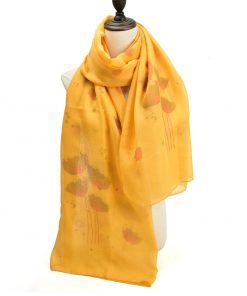SF1210 YELLOW - Ink Painting of Lotus Pattern Scarf For Women
