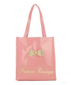 QQ2020-4 Pink - Bowknot Decoration Patent Large Women Tote Bag Casual Handbag