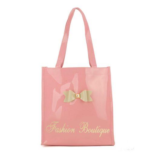 QQ2020-4 Pink - Bowknot Decoration Patent Large Women Tote Bag Casual Handbag